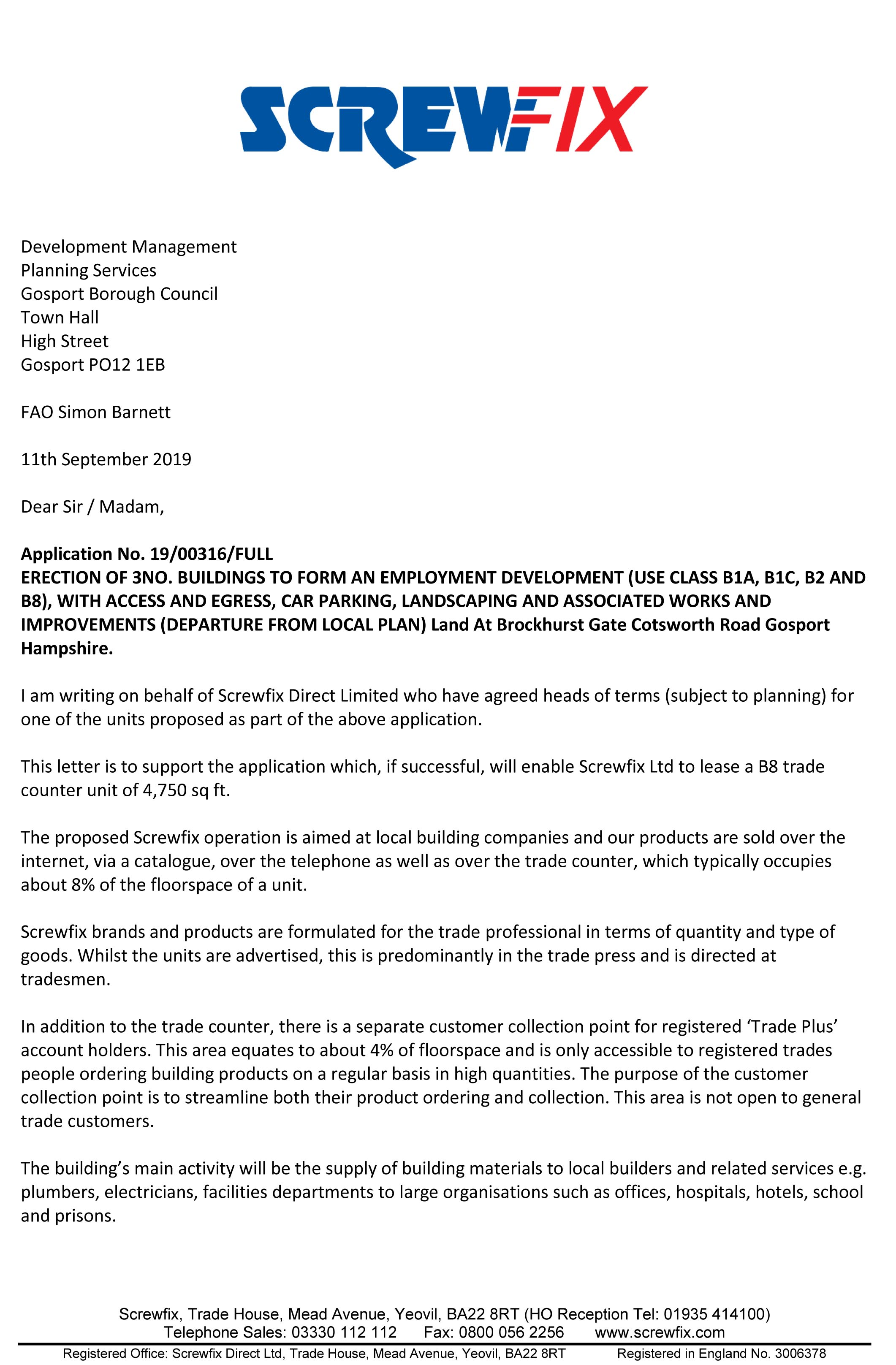 Screwfix Planning Support Letter-page 1